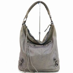 Auth Balenciaga Grays Leather Tote #843O71